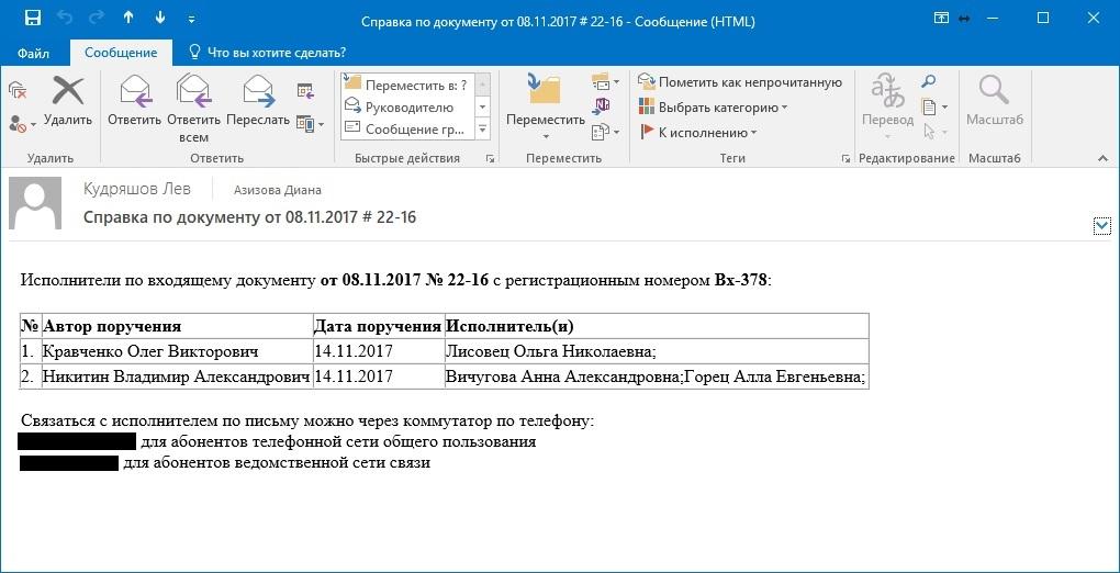 Электронное письмо с информацией по исполнению поручений